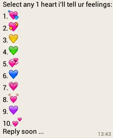 Select any 1 Heart i'll tell your feelings Whatsapp Game