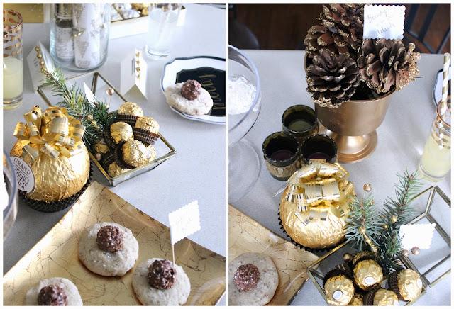 #FerreroMoment ; gold, sparkly Holiday entertaining