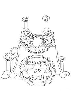 Dibujos para colorear del dia de los muertos ofrenda