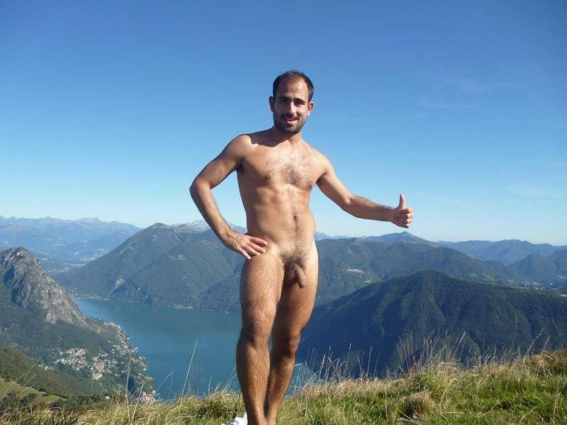 Nude males hiking