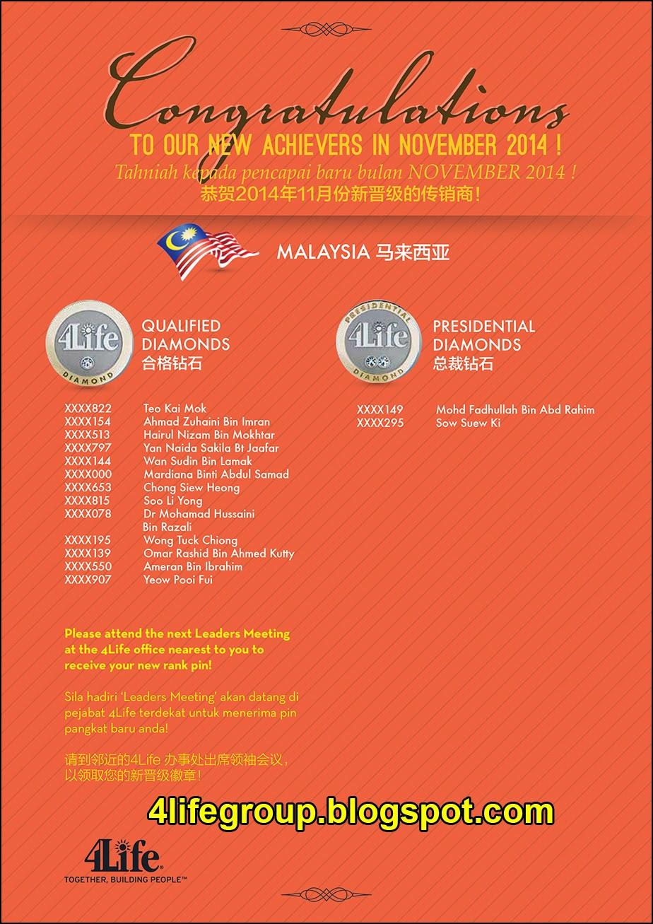 foto Pencapai Pangkat Baru November 2014 4Life Malaysia