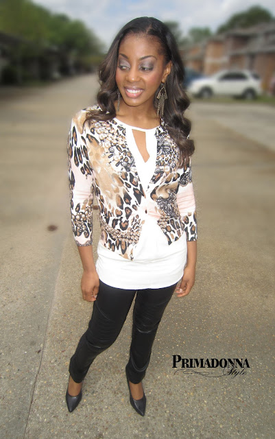 How to wear what to wear with animal print leopard cardigan cream tunic blush