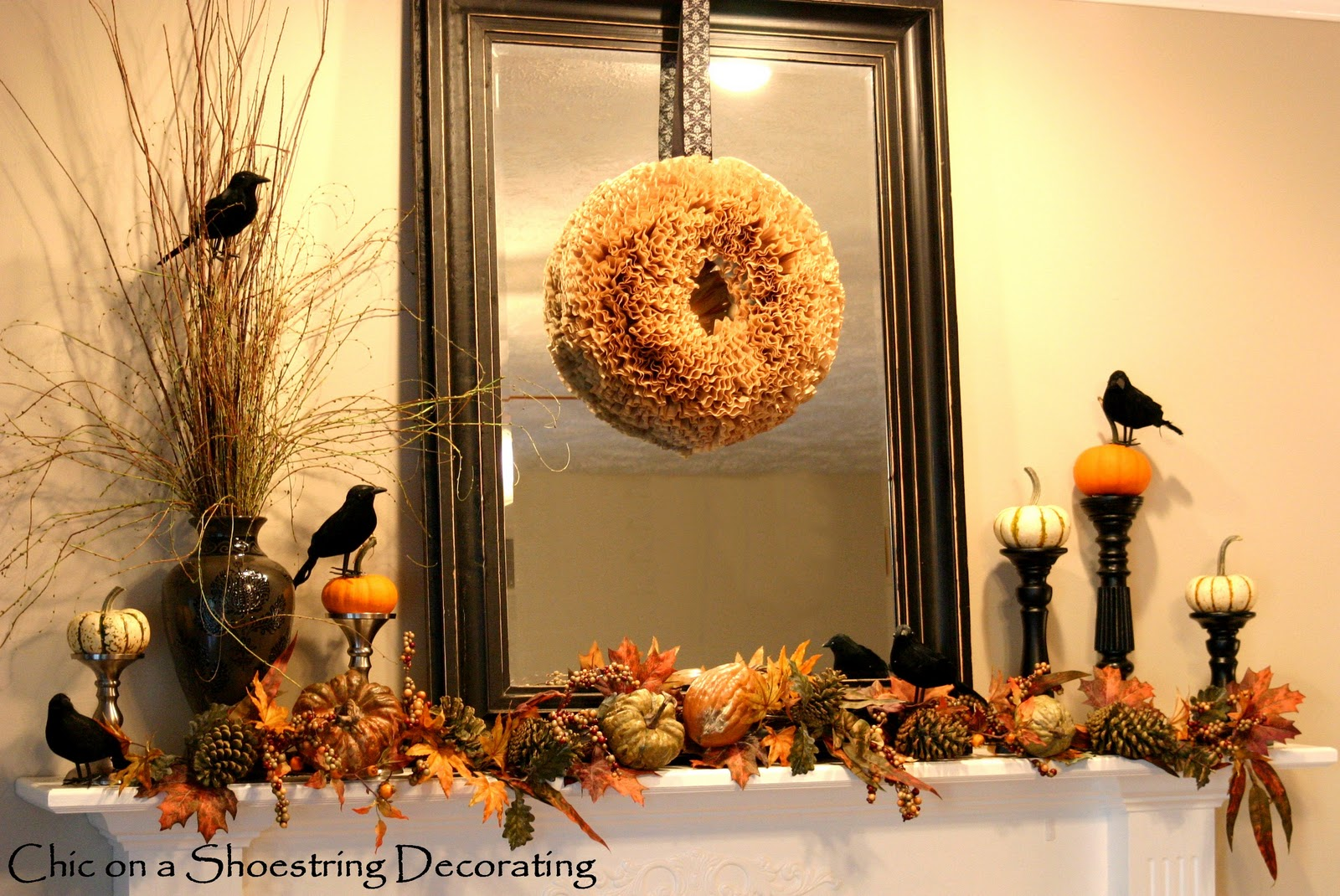 chic on a shoestring decorating halloween mantel is