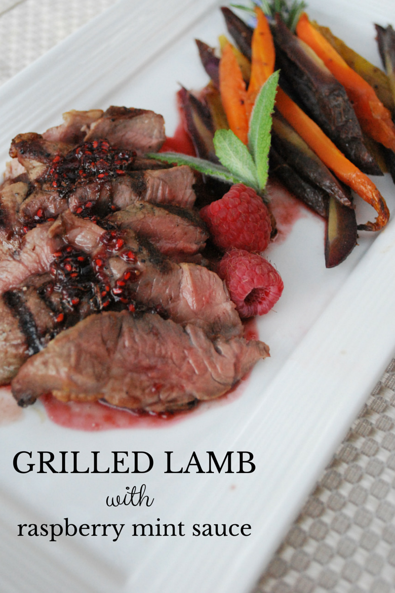 Grilled Lamb with Raspberry Mint Sauce: It doesn't get much easier than this simple recipe. Yet, as simple as it is to make, it's equally as impressive! Serve with roasted veggies and big green salad for a balanced meal.