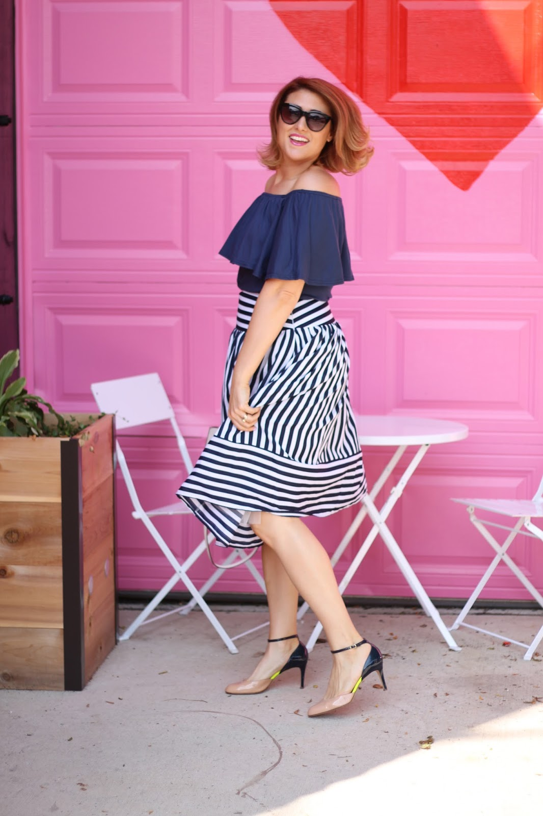 joa, striped, midi, skirt