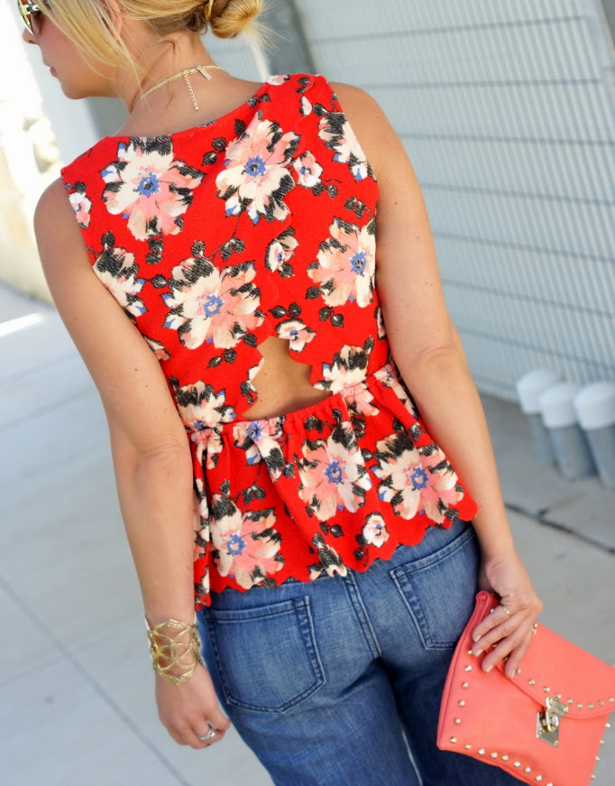 Scallop Peplum Floral Top