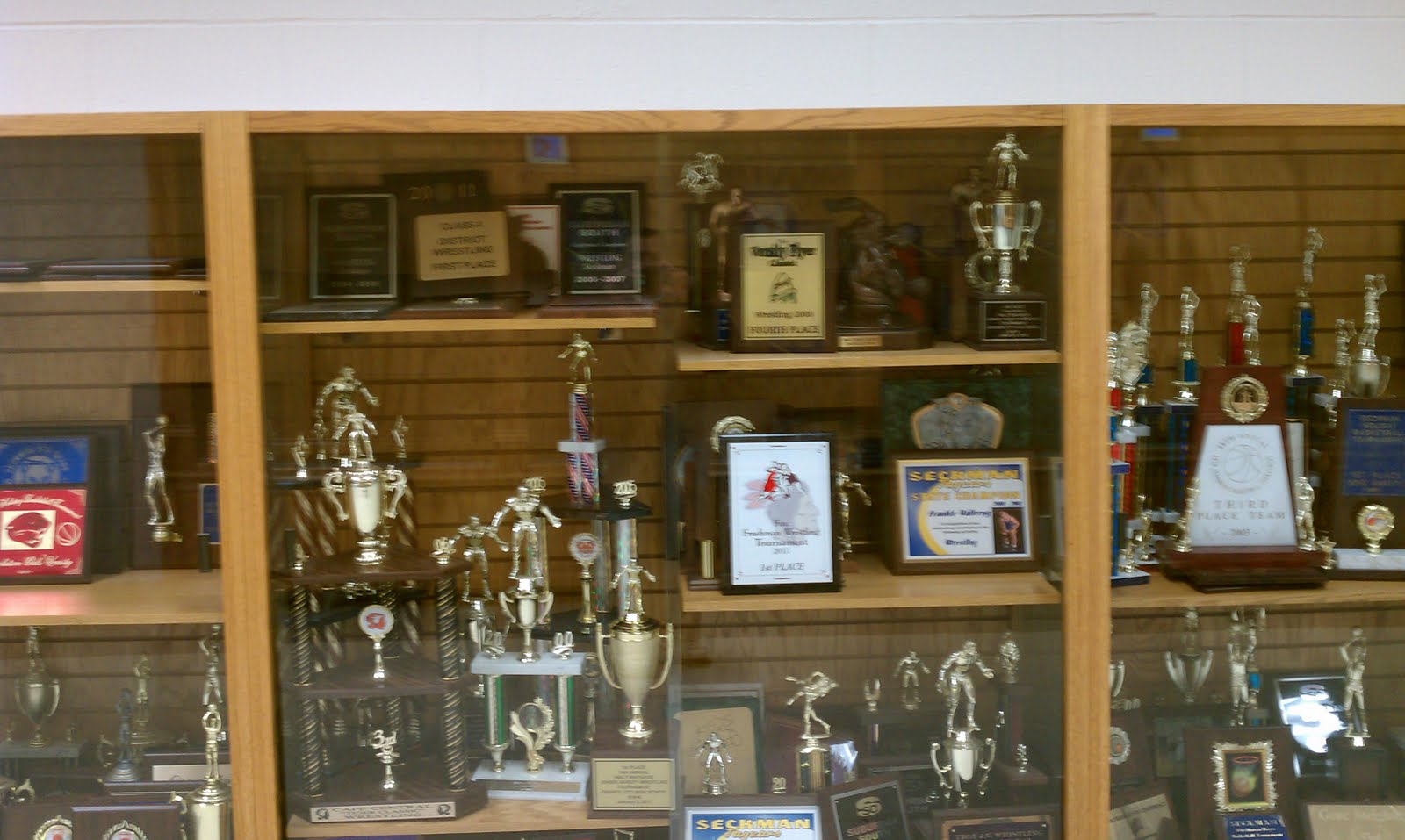 Part Of The Trophy Case In Our Athletic Wing Its Short Life Seckman Has Been Home To A Variety Successful Programs