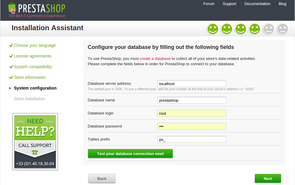 konfigurasi database prestashop