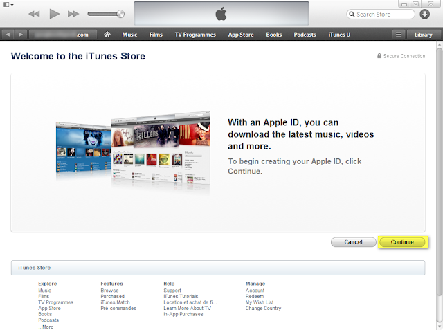 click continue to new itunes store