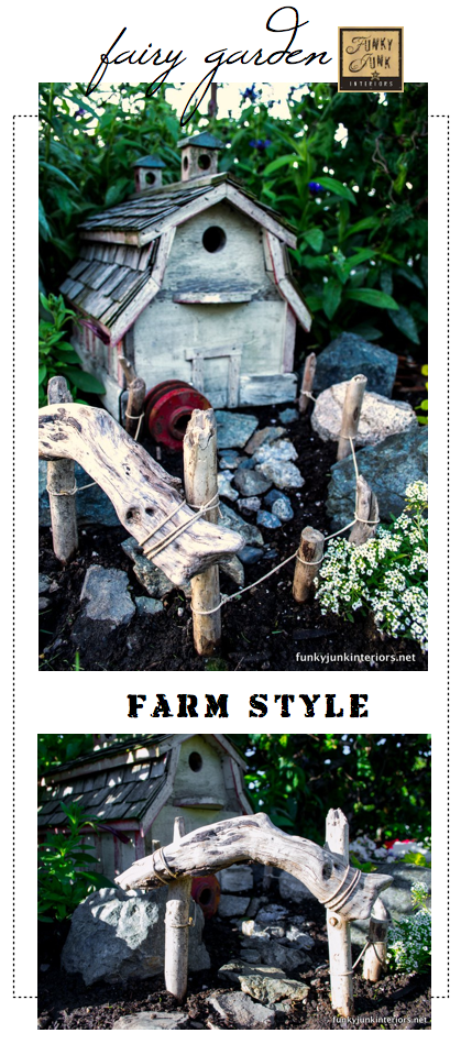 Create a farm styled fairy garden, via Funky Junk Interiors