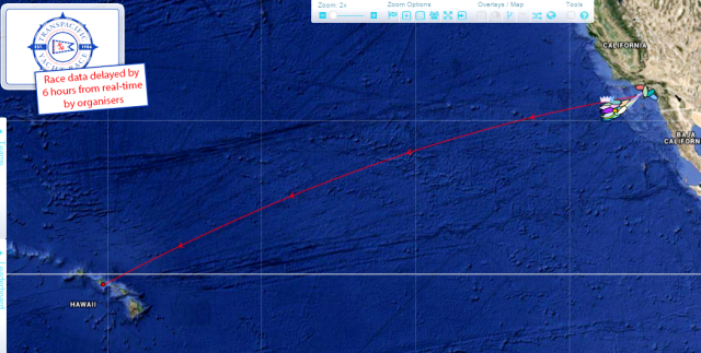 Screenshot of Transpac 2015 tracker