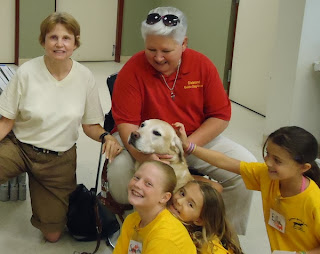 Day Campers visit with Jessie off-harness