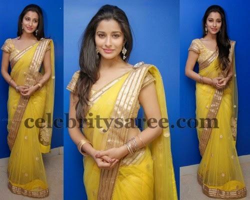 Madhurima Lemon Yellow Net Sari