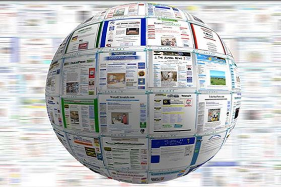 medios de comunicación , imagen bola del mundo hecha en papel prensa