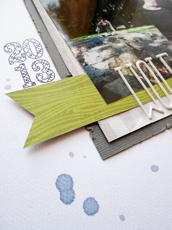Stamping on scrapbook layouts