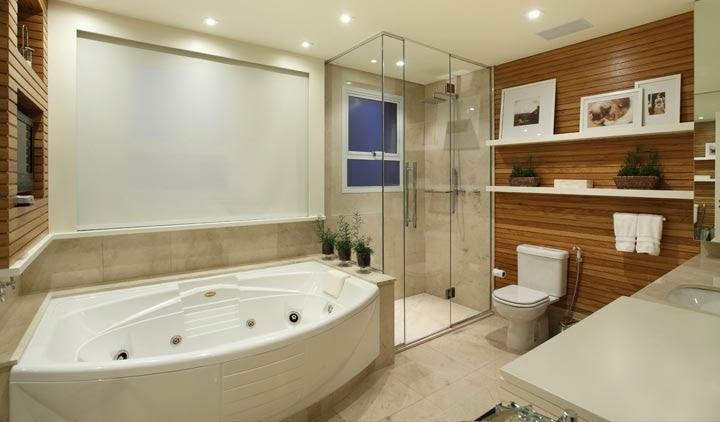 Banheiros com Banheiras! 30 Modelos maravilhosos!  DecorSalteado -> Banheiro Pequeno Com Hidro E Chuveiro
