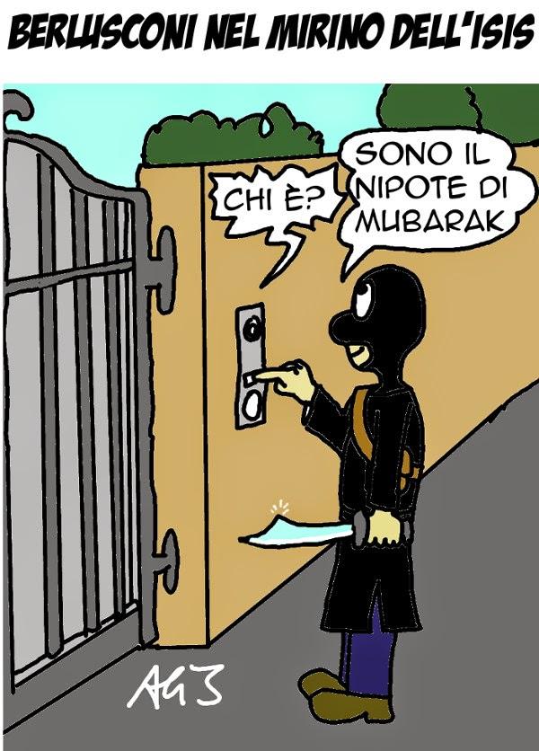 Berlusconi, ISIS, satira, vignetta