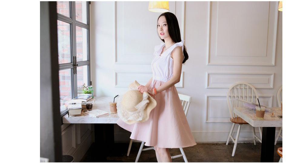 Busana: Dress Chiffon Putih Pink (BSF-268)