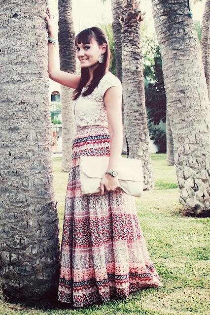 print floral, long skirt, flower print, estampado flores, falda larga, tonos nude, look romántico, look otoño, encaje, lace, hippie, aupie, stradivarius, Zara, formula joven, lefties, eva trendy ice cream,