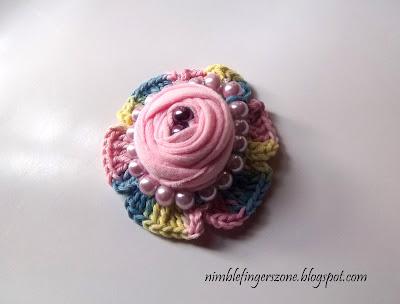 Rose Brooch with crochet -- nimblefingerszone