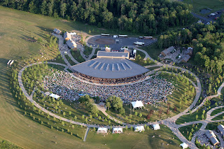 Ariel view of amphitheater and crowd at Bethel Woods
