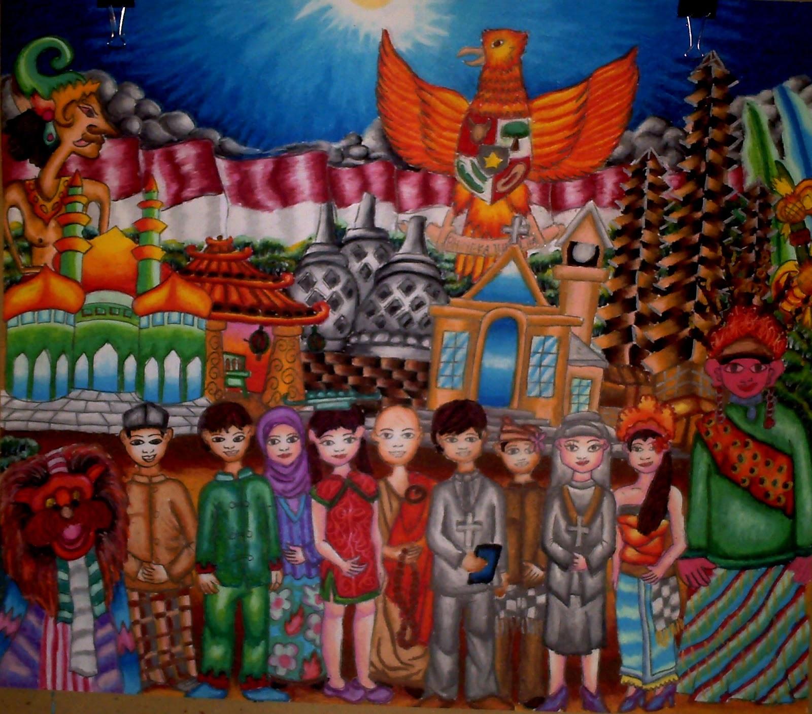 Lukisan Nida Ul Umaim adik penulis sebagai juara satu dalam FLSN Festival Lomba Seni Nasional Lombok 2012 yang menunjukkan kebhinnekaan agama dan budaya