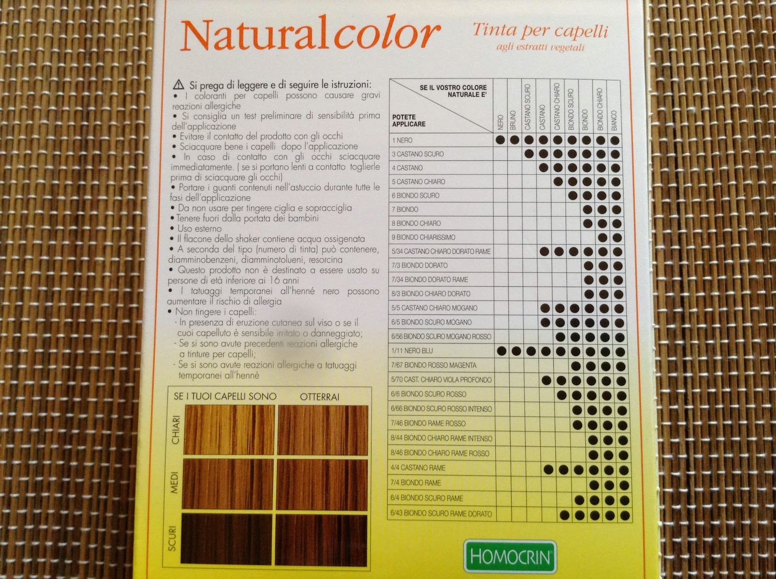 Tinta per capelli natural color homocrin