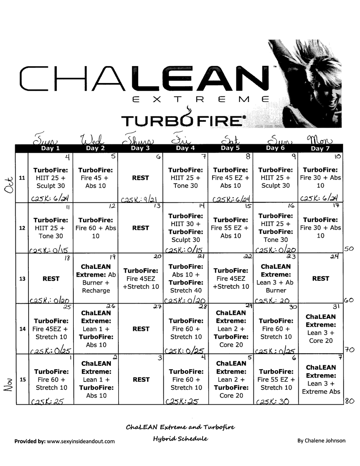Worksheets Chalean Extreme Worksheets bride on the run turbolean schedule run