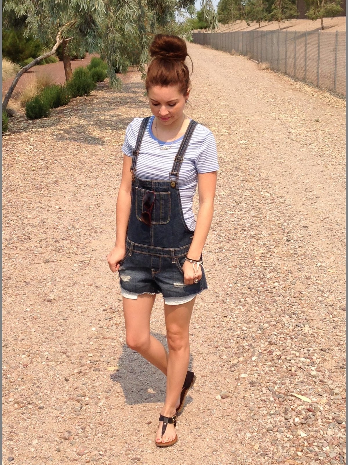 overalls, stripe shirt , messy bun, kohls