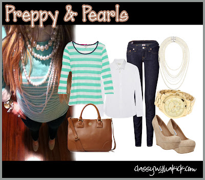 Preppy and Pearls: Mint Striped Sweater, Skinny Jeans, Pearls, Tory Burch