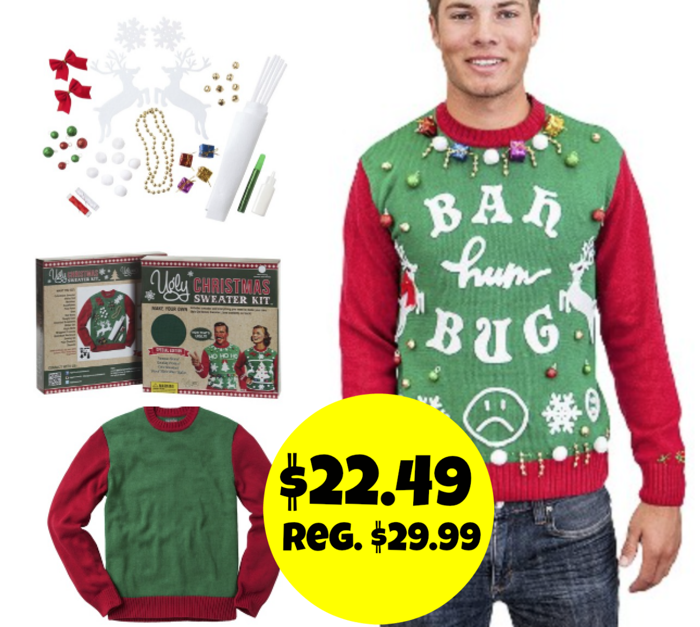 Make Your Own Ugly Christmas Sweater Kit Target - Gray Cardigan ...