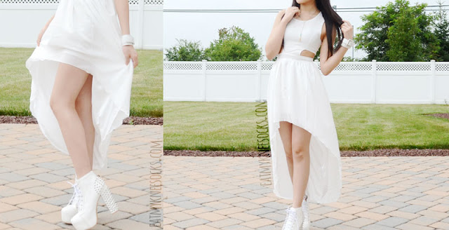WalkTrendy's white high-low dress is perfect for the beach or for parties, and makes the great addition to an edgy, boho-chic outfit with golden accessories and studded shoes.