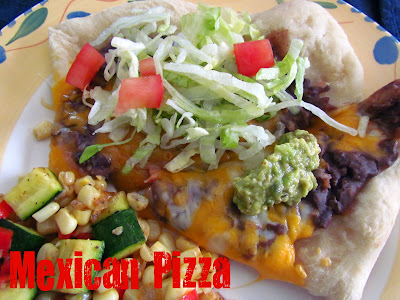 mexican pizza on yellow plate