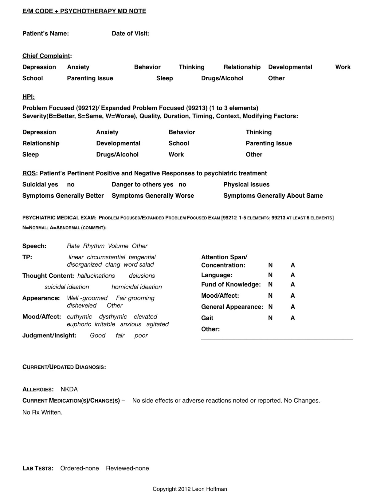 Psych hpi for Psychiatrist report template