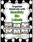 http://www.teacherspayteachers.com/Product/Monthly-Bin-Lables-Black-and-White-Polka-Dot-1152011
