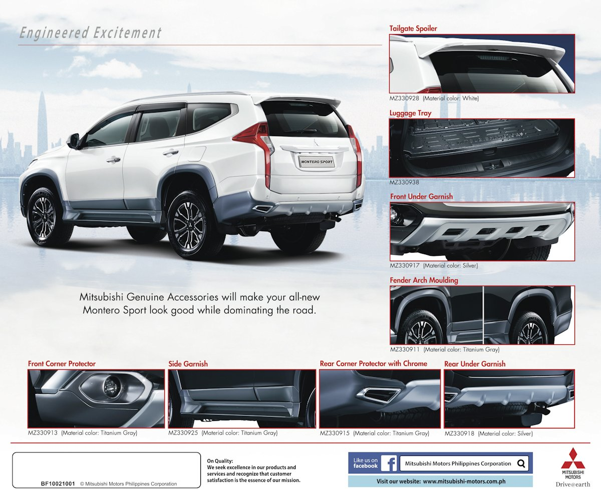 Mitsubishi motors philippines offers line of genuine accessories for the all new montero sport w brochure