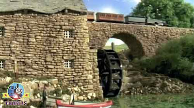Discovering Island of Sodor water mill old stone bridge tracks Emily the train Annie and Clarabel