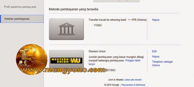 Menerima pembayaran Google Adsense dengan Transfer Kawat ke Bank