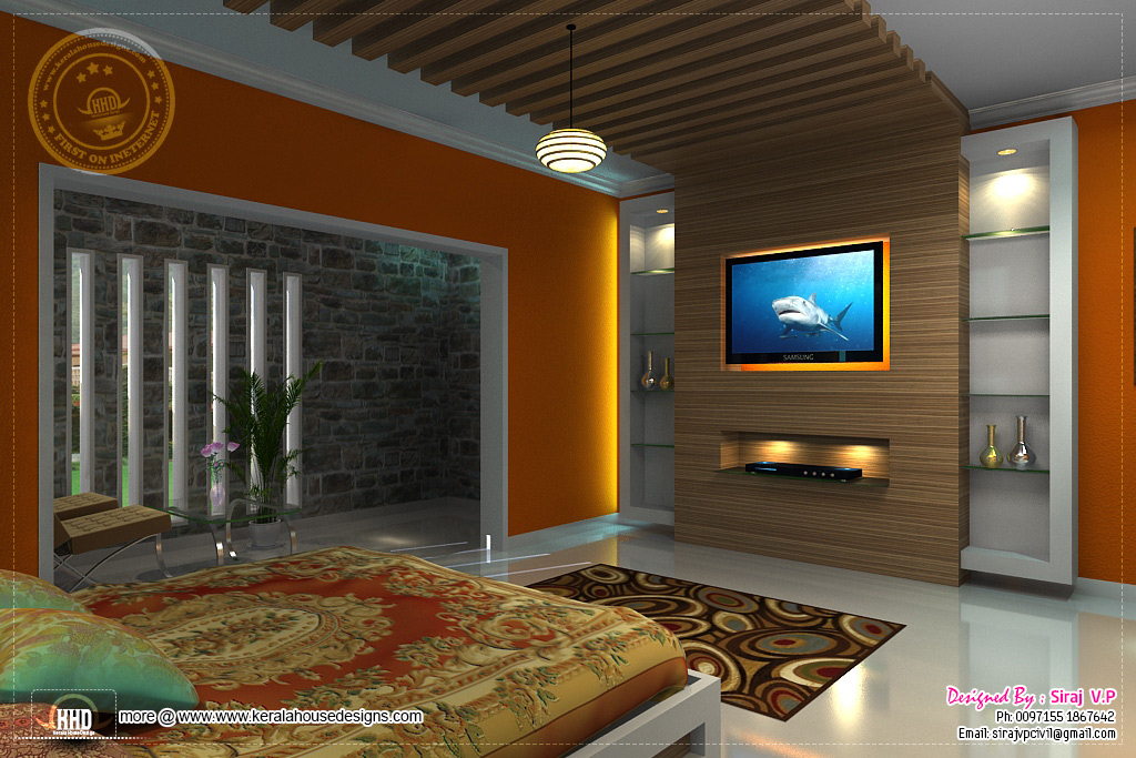 3D Renderings Of Bedroom Interior Design Kerala Home