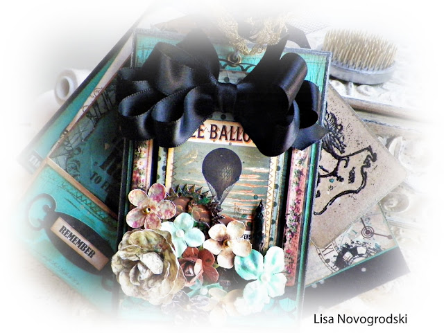 Bag and Tag Mini Album by Lisa Novogrodski for Scraps of Darkness kit club using the September 2015 kit