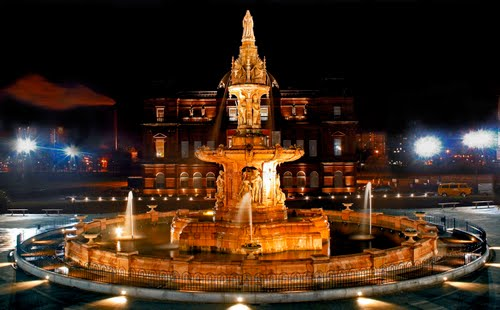 doulton fountain of peoples palace building in glasgow scotland