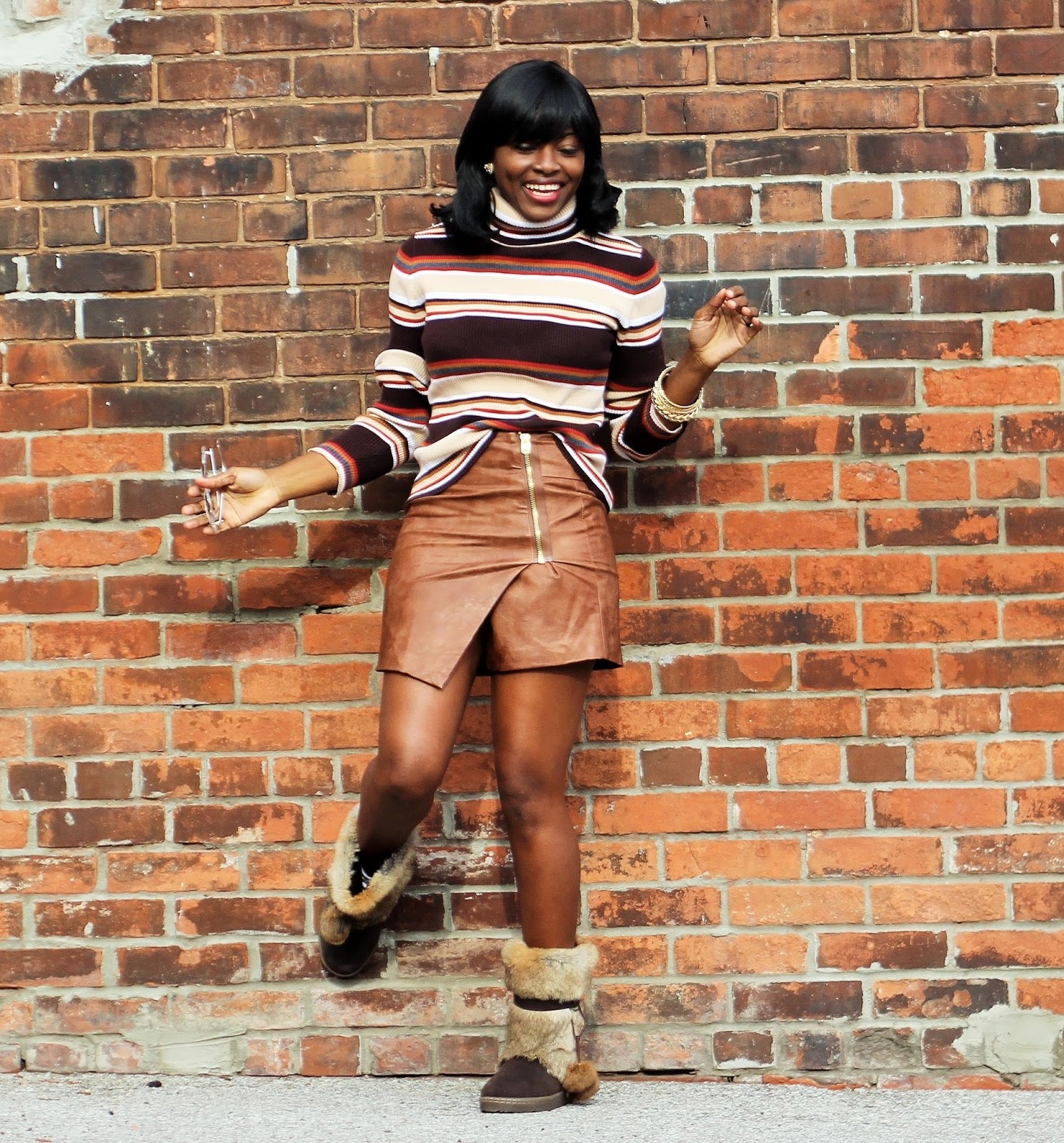 STRIPED TURTLENECK SWEATER STYLED WITH H&M WRAPAROUND SKIRT & BEARPAW TAMA FALL/WINTER BOOTS