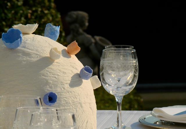 matrimonio ecologico in stile vittoriano a villa miani, centrotavola di fiori di carta