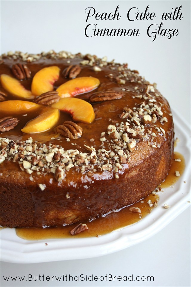 Peach Cake with Cinnamon Glaze www.ButterwithaSideofBread.com