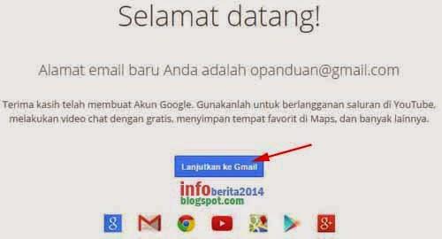 pendaftaran email google (gmail) berhasil