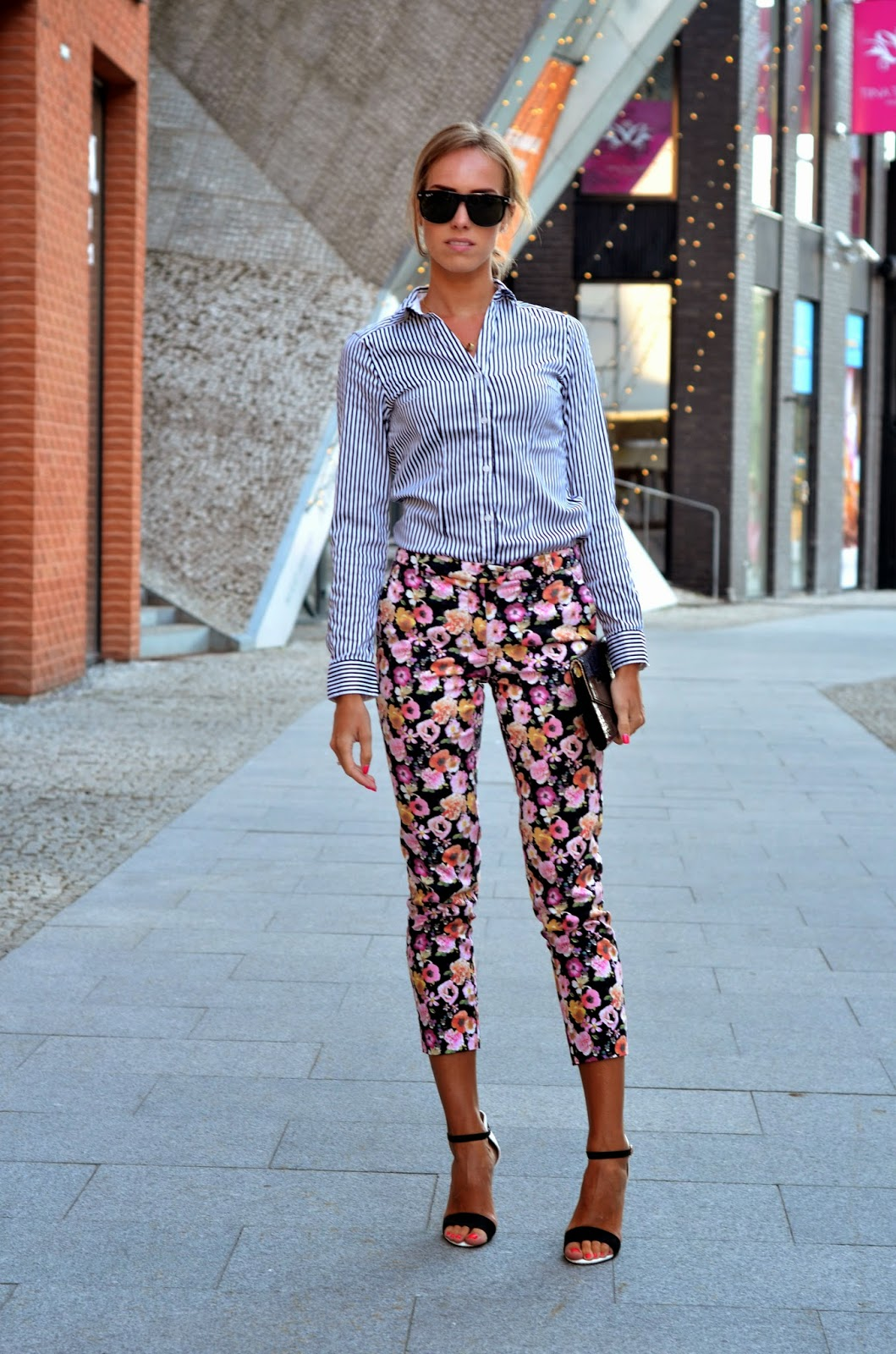 striped shirt floral pants stiletto heels