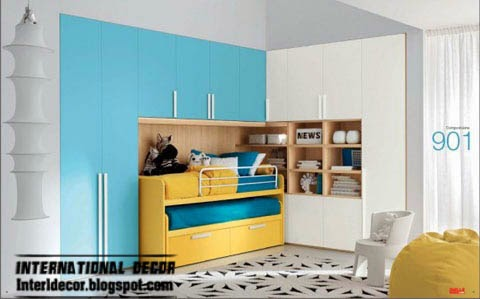 kids bedroom furniture, yellow bed, aqua white cupboard
