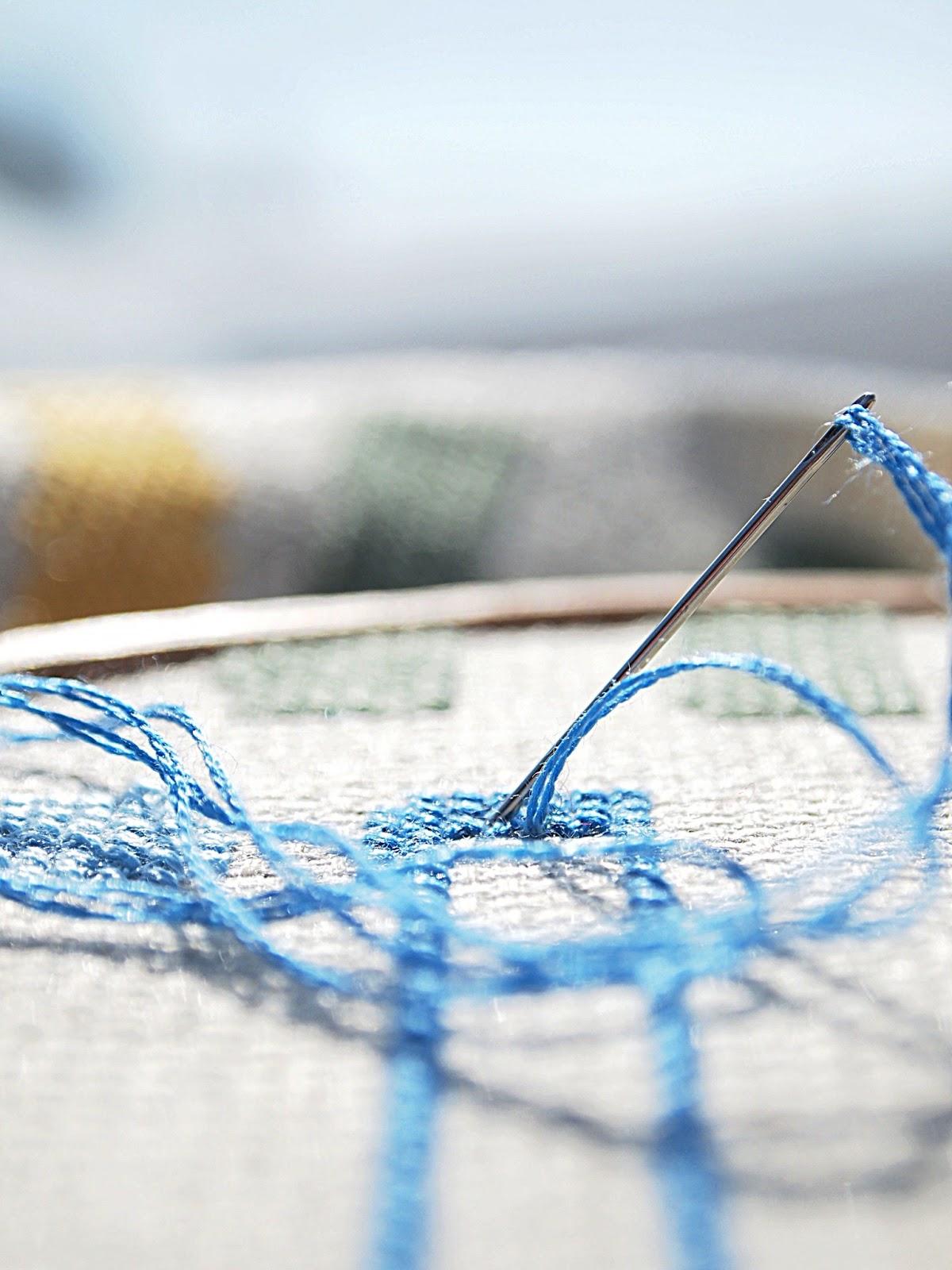 macro cross stitching