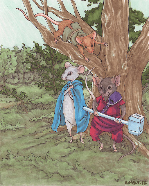 Three mice gathered at a tree wearing rpg fantasy clothing. They're ready for an adventure!