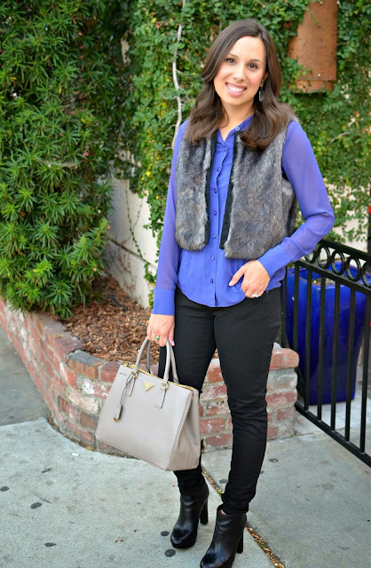 Faux Fur Vest & Black Denim